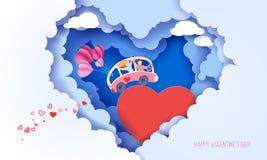 Carte de jour de valentines avec des couples au coeur d'amour illustration de vecteur