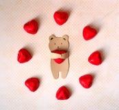 Carte de jour de valentines avec l'ours fait main comme amants Image stock