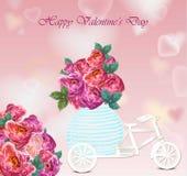 Carte de jour de Valentines La pivoine fleurit le vecteur de fond de forme de coeur Photographie stock libre de droits