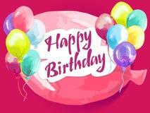 Carte de joyeux anniversaire avec des ballons Photographie stock