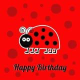 Carte de joyeux anniversaire avec l'insecte mignon de coccinelle d'insecte de dame Conception plate de fond de bébé Image stock