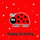 Carte de joyeux anniversaire avec l'insecte mignon de coccinelle d'insecte de dame Le fond de bébé miroite conception plate Photos stock