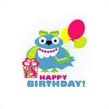 Carte de joyeux anniversaire avec l'oiseau Image stock