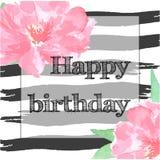 Carte de joyeux anniversaire avec la pivoine Photo libre de droits