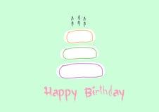 Carte de joyeux anniversaire avec le gâteau d'anniversaire, illustrations de vecteur Images stock