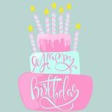 Carte de joyeux anniversaire avec le gâteau et les bougies Illustration de vecteur Photographie stock