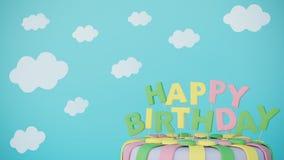 Carte de joyeux anniversaire avec le gâteau et les nuages illustration de vecteur