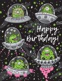 Carte de joyeux anniversaire avec le modèle sans couture de monstres fantastiques de créatures illustration stock