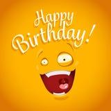 Carte de joyeux anniversaire avec le visage drôle d'émotion de bande dessinée illustration de vecteur