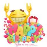 Carte de joyeux anniversaire avec le visage drôle d'émotion de jaune de bande dessinée illustration de vecteur