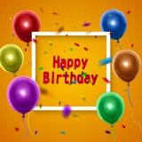 Carte de joyeux anniversaire avec les ballons colorés sur le fond orange Illustration de vecteur illustration libre de droits