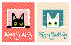 Carte de joyeux anniversaire Carte de joyeux anniversaire avec le chat mignon Carte de voeux illustration stock