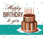 Carte de joyeux anniversaire Gâteau d'anniversaire Photographie stock