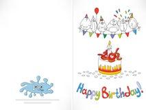 Carte de joyeux anniversaire Oiseau drôle de bande dessinée sur une ficelle Image stock