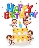 Carte de joyeux anniversaire de singe illustration stock