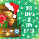 Carte de Joyeux Noël avec des flocons de neige illustration stock