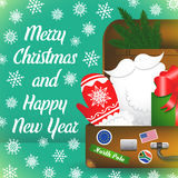 Carte de Joyeux Noël avec des flocons de neige Valise de voyage de Santa Claus Éléments de Santa Claus illustration libre de droits