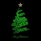 Carte de Joyeux Noël avec l'arbre de Noël de la lumière de disco Photo libre de droits