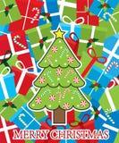 Carte de Joyeux Noël avec l'arbre et les cadeaux Photos stock