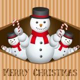 Carte de Joyeux Noël avec l'homme de neige Images libres de droits