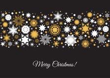 Carte de Joyeux Noël avec le modèle de vacances de l'or et du blanc illustration stock