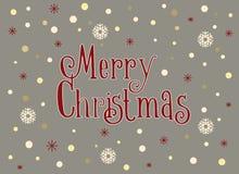 Carte de Joyeux Noël avec les flocons de neige et la neige, calibre Images libres de droits
