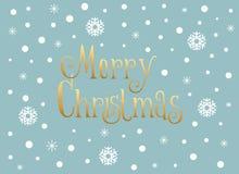 Carte de Joyeux Noël avec les flocons de neige et la neige, calibre Images stock