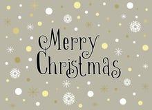 Carte de Joyeux Noël avec les flocons de neige et la neige, calibre illustration de vecteur