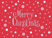 Carte de Joyeux Noël avec les flocons de neige et la neige, calibre Image stock