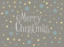Carte de Joyeux Noël avec les flocons de neige et la neige, calibre Image libre de droits