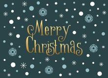 Carte de Joyeux Noël avec les flocons de neige et la neige, calibre Photographie stock libre de droits