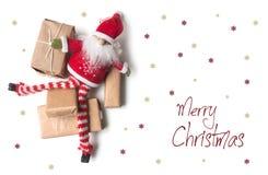 Carte de Joyeux Noël avec peu de lutin photo stock