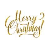 Carte de Joyeux Noël d'or Scintillement brillant d'or Affiche Tamplate de salutation de calligraphie Fond blanc d'isolement illustration libre de droits