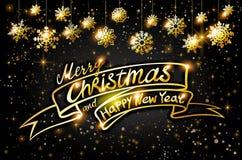 Carte de Joyeux Noël et de bonne année d'or Scintillement brillant d'or de flocons de neige et d'étoiles Calibre d'affiche de sal illustration de vecteur