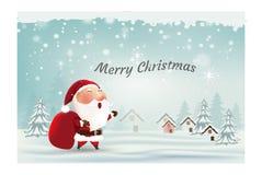 Carte de Joyeux Noël et de bonne année, Santa Claus, scène de neige, hiver de fête de paysage d'hiver de salutation heureuse Illustration Stock