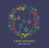 Carte de Joyeux Noël et de bonne année illustration stock