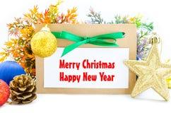 Carte de Joyeux Noël et de bonne année Photographie stock