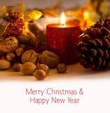 Carte de Joyeux Noël et de bonne année avec l'espace de copie pour le texte images libres de droits