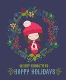 Carte de Joyeux Noël et de bonne année avec la petite fille mignonne Photographie stock libre de droits