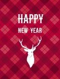Carte de Joyeux Noël et de bonne année avec un cerf commun Image stock