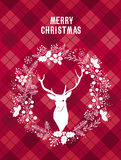 Carte de Joyeux Noël et de bonne année avec un cerf commun illustration stock