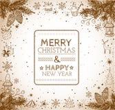 Carte de Joyeux Noël et de bonne année de vintage Image stock