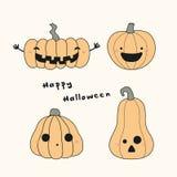 Carte de Kawaii Halloween avec des potirons illustration stock