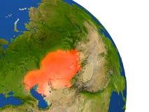 Carte de Kazakhstan en rouge illustration stock