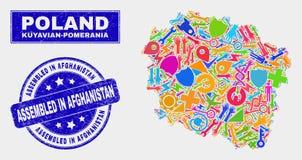 Carte de Kuyavian-Pomeranian Voivodeship de technologie de collage et rayé réuni dans le joint de l'Afghanistan illustration de vecteur