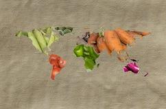 Carte de légumes fruits du monde Images stock