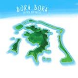 carte de l'île 3D de Bora Bora illustration libre de droits