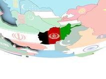 Carte de l'Afghanistan avec le drapeau sur le globe Photos libres de droits