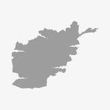 Carte de l'Afghanistan dans le gris sur un fond blanc Photos stock