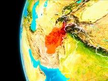 Carte de l'Afghanistan en rouge Image libre de droits